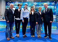(L to R) European Championships Officials<br />  Kyiv, Ukraine UKR 09/08/2019<br /> Diving Officials<br /> Len European Diving Championships 2019<br /> Sport Arena Liko Kyiv, Ukraine<br /> Photo © Giorgio Scala / Deepbluemedia / Insidefoto