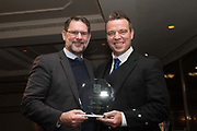 09/02/2017 - Dundee FC managing director John Nelms presents Gavin Rae with his Modern Hero Award at Dundee FC Hall of fame dinner at the Invercarse Hotel, Dundee  Picture by David Young -