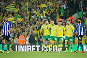 Norwich City players celebrate Norwich City midfielder Marco Stiepermann's (18) goal during the EFL Sky Bet Championship match between Norwich City and Sheffield Wednesday at Carrow Road, Norwich, England on 19 April 2019.