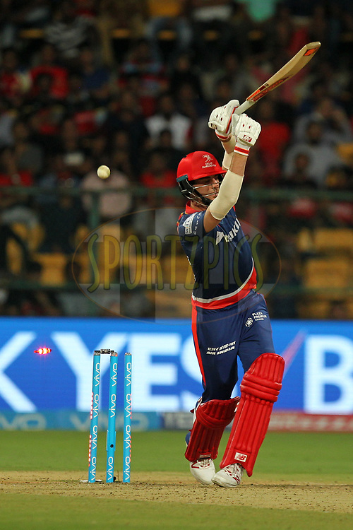 Patrick Cummins of Delhi Daredevils bowled out during match 5 of the Vivo 2017 Indian Premier League between the Royal Challengers Bangalore and the Delhi Daredevils held at the M.Chinnaswamy Stadium in Bangalore, India on the 8th April 2017Photo by Prashant Bhoot - IPL - Sportzpics
