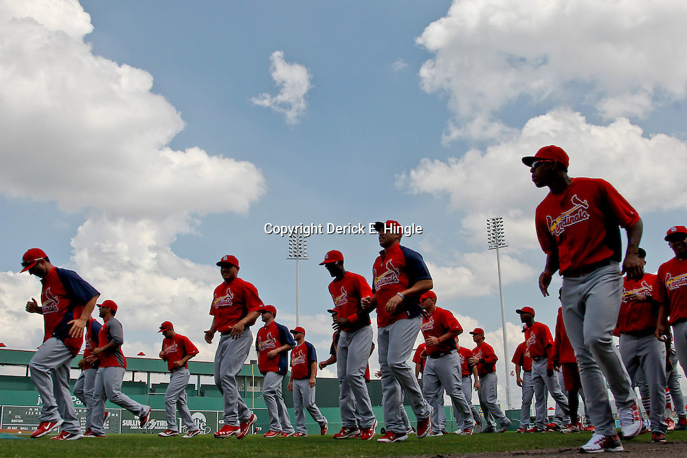 March 15, 2012; Fort Myers, FL, USA; St. Louis Cardinals players warm up before a spring training game against the Boston Red Sox at Jet Blue Park. Mandatory Credit: Derick E. Hingle-US PRESSWIRE