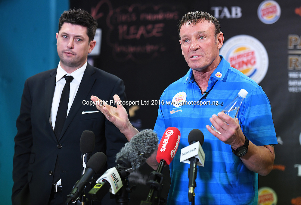 Duco's Craig Stanaway and trainer Kevin Barry during a media session ahead of his WBO title fight next week. Burger King Road to the title by Duco Boxing. The Wreck Room, Auckland, New Zealand. Thursday 1 December 2016. © Copyright Photo: Andrew Cornaga / www.photosport.nz