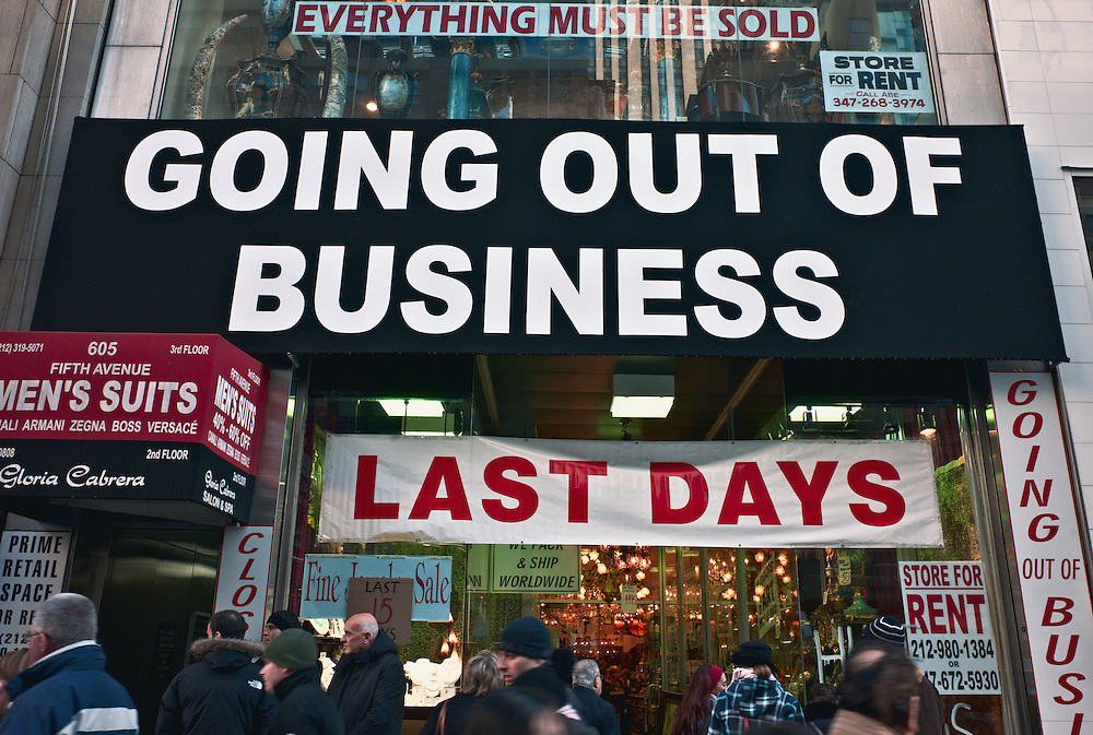 """Going out of business"" sign on storefront, Midtown Manhattan, New York, US"