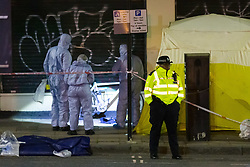 © Licensed to London News Pictures. 17/04/2019. London, UK.  Forensic officers and police at the crime scene in Matthias Road in Stoke Newington where a man, thought to be in his 30's was discovered suffering from a stab injury at 17:47hrs and despite efforts from police and ambulance personnel to administer CPR died at the scene..  Photo credit: Vickie Flores/LNP