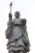 Staty av munken Kūkai (Kōbō Daishi) vid tempel nummer 75, Zentsū-ji.<br /> <br /> Pilgrimsvandring till 88 tempel p&aring; japanska &ouml;n Shikoku till minne av den japanske munken Kūkai (Kōbō Daishi). <br /> <br /> Fotograf: Christina Sj&ouml;gren<br /> Copyright 2018, All Rights Reserved<br /> <br /> <br /> A statue of the Japanese monk Kūkai (Kōbō Daishi) at the temple number 75 Zentsū-ji (善通寺) temple. <br /> <br /> The Shikoku Pilgrimage, 88 temples associated with the Buddhist monk Kūkai (Kōbō Daishi) on the island of Shikoku, Japan