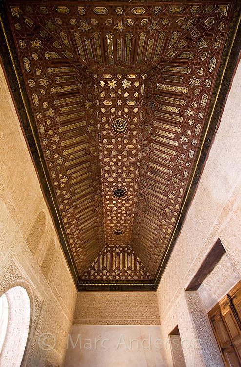 Details of Moorish architecture inside the Alhambra Palace, Granada, Spain