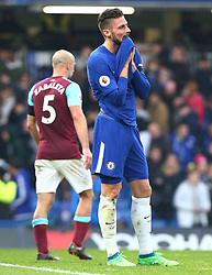 April 8, 2018 - London, England, United Kingdom - Chelsea's Olivier Giroud.during English Premier League match between Chelsea and West Ham United at Stamford Bridge, London, England on 08 April 2018. (Credit Image: © Kieran Galvin/NurPhoto via ZUMA Press)