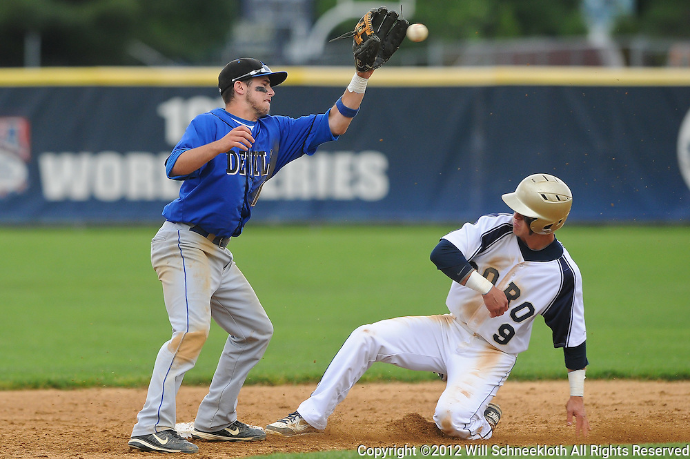 Hammonton shortstop Tim Gallagher tries to tag out Freehold Boro's Jason Lundy during NJSIAA Group III baseball semifinal action between Hammonton High School and Freehold Boro High School at Monmouth University..Photo/Will Schneekloth special to The Daily Journal
