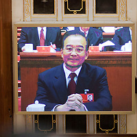 BEIJING, NOV 8, 2012 : Wen Jiabao, current Premier of the People's,  Republic of China , attends the 18th Party Congress of the CPC ( Communist Party Of China ). He is currently  one of the 9 members of the Standing Committee.