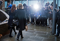 © London News Pictures. 14/02/2013 . London, UK.  Vicky Pryce (left) arriving at Southwark Crown Court in front of the media on February 14, 2013 where the jury is expected to go out to consider a in her trial for perverting the course of justice. Vicky Pryce admitted accepting penalty points incurred by her former husband and disgraced MP Chris Huhne in 2003. Photo credit : Ben Cawthra/LNP