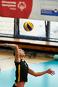 Katowice, Poland - 2017 September 03: Partner Zeynalabdin Gasimov from SO Azerbaijan serves the ball while Third Place  match between SO Azerbaijan and SO Czech Republic during European Unified Volleyball Tournament 2017 at Spodek Hall on September 03, 2017 in Katowice, Poland.<br /> <br /> Adam Nurkiewicz declares that he has no rights to the image of people at the photographs of his authorship.<br /> <br /> Picture also available in RAW (NEF) or TIFF format on special request.<br /> <br /> Any editorial, commercial or promotional use requires written permission from the author of image.<br /> <br /> Image can be used in the press when the method of use and the signature does not hurt people on the picture.<br /> <br /> Mandatory credit:<br /> Photo by &copy; Adam Nurkiewicz / Mediasport