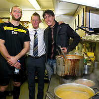 St Johnstone Training....25.11.11<br /> Alan Mannus, Steve Lomas and Francisco Sandaza pictured in the kitchen at McDiarmid Park. Last week the manager cooked for Alan and Fran, this week Fran cooked for Alan and the Manager<br /> Picture by Graeme Hart.<br /> Copyright Perthshire Picture Agency<br /> Tel: 01738 623350  Mobile: 07990 594431