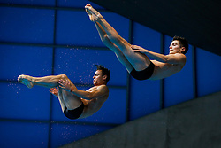 Tom Daley (L) and Daniel Goodfellow of Great Britain warm up before the Mens 10m Platfom Final going on to win the Silver Medals - Mandatory byline: Rogan Thomson/JMP - 12/05/2016 - DIVING - London Aquatics Centre - Stratford, London, England - LEN European Aquatics Championships 2016 Day 4.