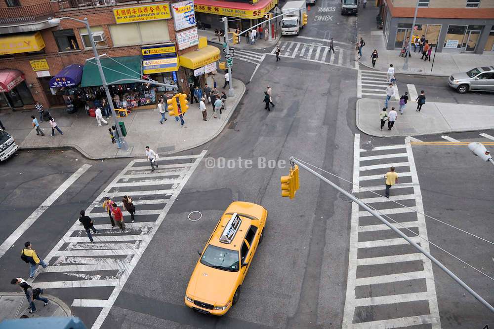 birds eye view of street in China Town NYC