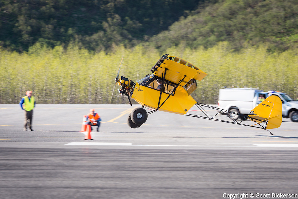 Frank Knapp competing in the short take off and landing competition in his Lil' Cub at the Valdez fly-in & Air Show in Valdez, Alaska. May 10 and 11, 2014. Photos by Scott Dickerson.