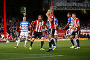 Brentford Defender Andreas Bjelland (5) comes close with his head during the EFL Sky Bet Championship match between Brentford and Reading at Griffin Park, London, England on 16 September 2017. Photo by Andy Walter.