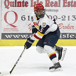 WELLINGTON, ON - FEBRUARY 9: Andrew Rinaldi #15 of the Wellington Dukes skates up ice during the first period on February 9, 2019 at Wellington and District Community Centre in Wellington, Ontario, Canada.<br /> (Photo by Tim Bates / OJHL Images)