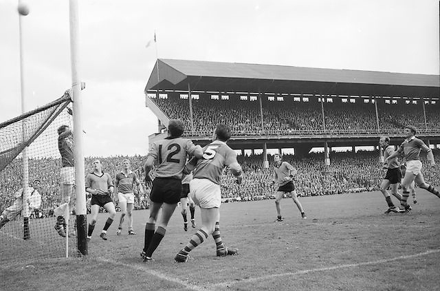 Down goalie attempts to save ball during the All Ireland Senior Gaelic Football Final Kerry v Down in Croke Park on the 22nd September 1968. Down 2-12 Kerry 1-13.