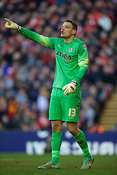 LIVERPOOL, ENGLAND - Sunday, March 8, 2015: Blackburn Rovers' goalkeeper Simon Eastwood in action against Liverpool during the FA Cup 6th Round Quarter-Final match at Anfield. (Pic by David Rawcliffe/Propaganda)