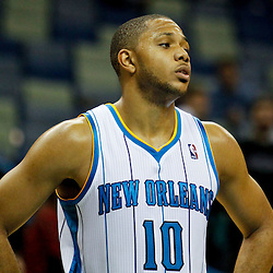 January 4, 2012; New Orleans, LA, USA; New Orleans Hornets shooting guard Eric Gordon (10) against the Philadelphia 76ers during the second half of a game at the New Orleans Arena. The 76ers defeated the Hornets 101-93.  Mandatory Credit: Derick E. Hingle-US PRESSWIRE