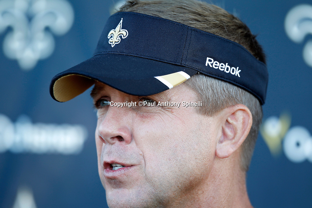 New Orleans Saints head coach Sean Payton talks to the media at the team's west coast NFL training camp on Wednesday, August 24, 2011 in Oxnard, California. (©Paul Anthony Spinelli)