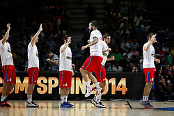 12.09.2014, City Arena, Madrid, ESP, FIBA WM, Frankreich vs Serbien, Halbfinale, im Bild Serbia´s players // during FIBA Basketball World Cup Spain 2014 semifinal match between France and Serbia at the City Arena in Madrid, Spain on 2014/09/12. EXPA Pictures © 2014, PhotoCredit: EXPA/ Alterphotos/ Victor Blanco<br /> <br /> *****ATTENTION - OUT of ESP, SUI*****