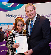 Sean Kyne TD Minister of State for Community Affairs, Natural Resources and Digital Development, presenting certificate to  Ciara Heneghan  with  QQI level2 in  Computer Skills Health Related Exercise and Non Verbal Communications. Photo:Andrew Downes, xposure .