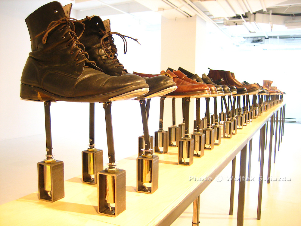 "Ingrid Bachmann's ""Symphony for 54 Shoes (Distant Echoes)"", exhibition in Quebec City at La Galerie des arts, Université Laval, 2008."