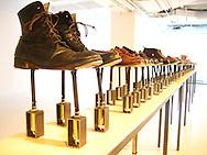 """Ingrid Bachmann's """"Symphony for 54 Shoes (Distant Echoes)"""", exhibition in Quebec City at La Galerie des arts, Université Laval, 2008."""