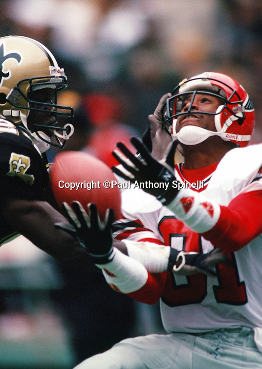 Atlanta Falcons wide receiver Michael Haynes (81) tries to catch a pass defended by New Orleans Saints cornerback Milton Mack (24) during the NFL football game against the New Orleans Saints on Nov. 19, 1989 in Atlanta. The Saints won the game 26-17. (©Paul Anthony Spinelli)