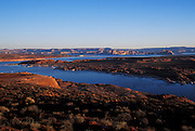 Lake Powell, view North at daybreak, Page, Arizona...Subject photograph(s) are copyright Edward McCain. All rights are reserved except those specifically granted by Edward McCain in writing prior to publication...McCain Photography.211 S 4th Avenue.Tucson, AZ 85701-2103.(520) 623-1998.mobile: (520) 990-0999.fax: (520) 623-1190.http://www.mccainphoto.com.edward@mccainphoto.com