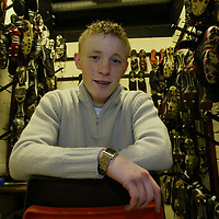 St Johnstone's Mark Baxter who has been awarded this months Bells Young Player of the Month award.  He was not allowed to pictured with the trophy as he is under 18. He is pictured in the boot room where he is still kept busy despite his regular first team place<br />see story by Gordon Bannerman Tel 01738 553978<br />Picture by Graeme Hart<br />Perthshire Picture Agency<br />Tel: 01738 623350 / 07990 594431