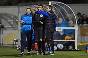 Forest Green Rovers manager, Mark Cooper not happy with a decision during the Vanarama National League match between Sutton United and Forest Green Rovers at Gander Green Lane, Sutton, United Kingdom on 14 March 2017. Photo by Adam Rivers.