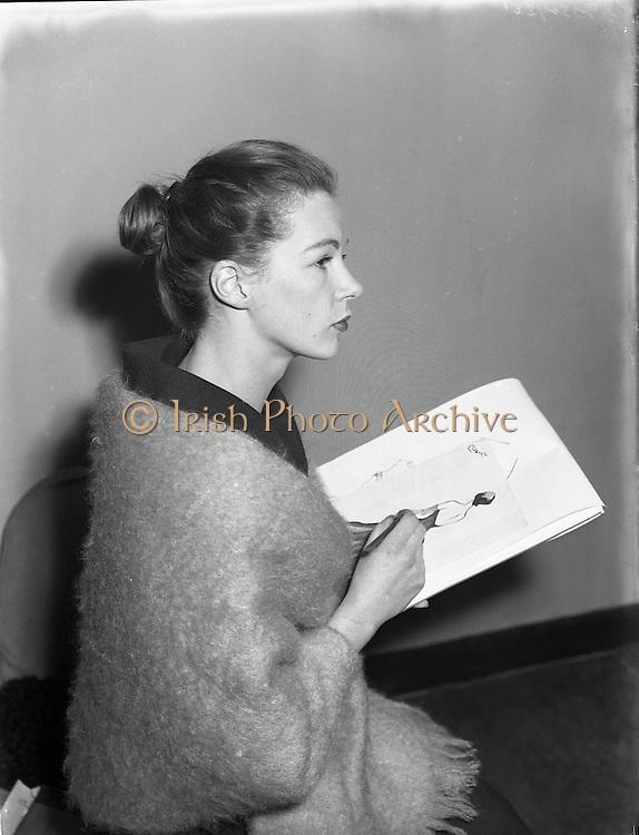 Clodagh Phibbs, 18 Year old dress designer, first fashion show at Hibernian. <br /> <br /> 5th October 1956.<br /> <br /> 05/10/1956