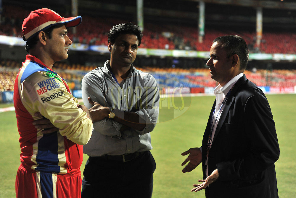 Sundar Raman CEO IPL with Javagal Srinath and Anil Kumble during match 1 of the NOKIA Champions League T20 ( CLT20 )between the Royal Challengers Bangalore and the Warriors held at the  M.Chinnaswamy Stadium in Bangalore , Karnataka, India on the 23rd September 2011..Photo by Pal Pillai/BCCI/SPORTZPICS