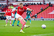 Barnsley forward Cauley Woodrow (9) scores an offside goal during the EFL Sky Bet Championship match between Barnsley and Swansea City at Oakwell, Barnsley, England on 19 October 2019.