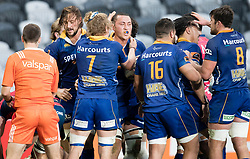 Otago players celebrate the try of Sione Teu, centre, against Tasman in the Mitre 10 Cup rugby match, Forsyth Barr Stadium, Dunedin, New Zealand, Sept. 16 2017.  Credit:SNPA / Adam Binns ** NO ARCHIVING**