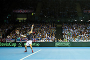 Andy Murray of Great Britain serves during the Davis Cup Semi Final between Great Britain and Argentina at the Emirates Arena, Glasgow, United Kingdom on 16 September 2016. Photo by Craig Doyle.