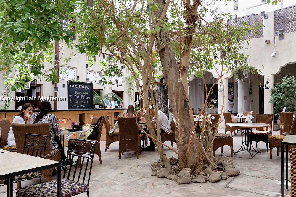 Courtyard cafe at XVA gallery in Bastakiya old district of Dubai United Arab Emirates