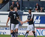 Kane Hemmings is congratulated by Kevin Holt after scoring Dundee's opener - Raith Rovers v Dundee, pre-season friendly at Starks Park<br /> <br />  - &copy; David Young - www.davidyoungphoto.co.uk - email: davidyoungphoto@gmail.com