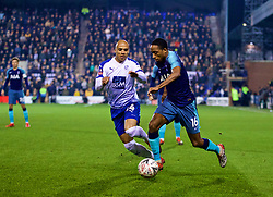 BIRKENHEAD, ENGLAND - Friday, January 4, 2019: Tottenham Hotspur's Kyle Walker-Peters (R) and Tranmere Rovers' Jake Caprice during the FA Cup 3rd Round match between Tranmere Rovers FC and Tottenham Hotspur FC at Prenton Park. (Pic by David Rawcliffe/Propaganda)