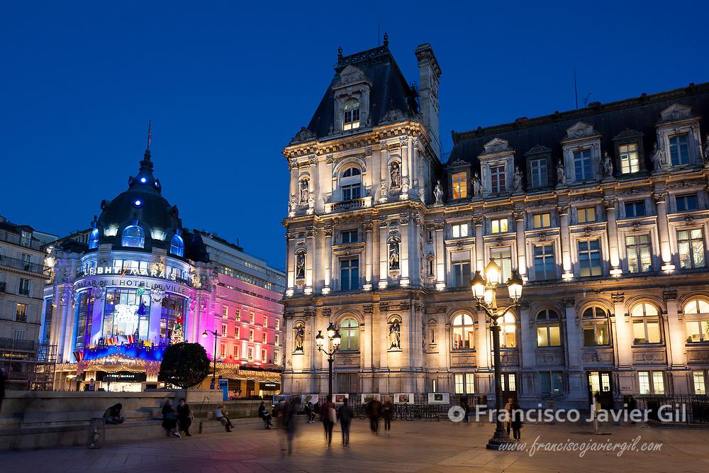 City council in christmas, Paris, France
