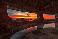 Inside Buzludzha memorial at sunrise