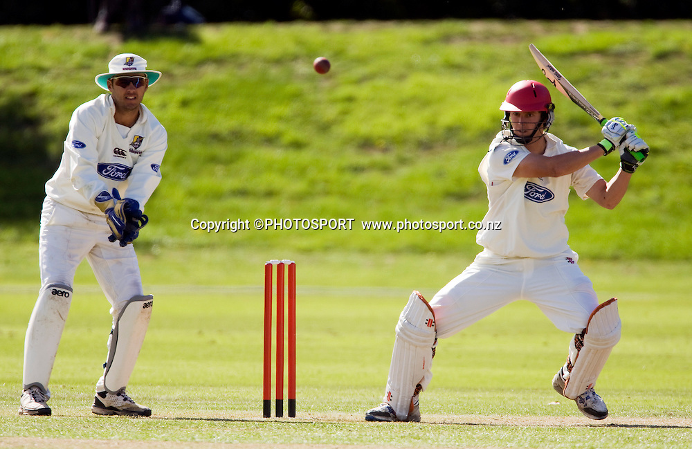 Matt Henry batting for Canterbury with wicket keeper Brad Wilson for the Northern Knights during play on day three. Canterbury Wizards v Northern Knights, Plunket Shield Game held at Mainpower Oval, Rangiora, Wednesday 06 April 2011. Photo : Joseph Johnson / photosport.co.nz