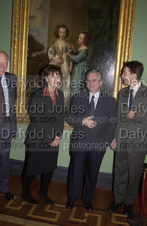 Lord Rothschild, Cherie Booth, Professor Mikhail Piotrovski and the Marquess of Cholmondeley. .  Masterpeices from the Walpole collection. Hermitage Rooms at Somerset House. 25 September 2002.  © Copyright Photograph by Dafydd Jones 66 Stockwell Park Rd. London SW9 0DA Tel 020 7733 0108 www.dafjones.com