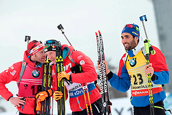 10.03.2016, Holmenkollen, Oslo, NOR, IBU Weltmeisterschaft Biathlon, Oslo, 20 km, Herren, im Bild Dominik Landertinger (AUT), Martin Fourcade (FRA), Simon Eder (AUT) // during Mens 20 km individual Race of the IBU World Championships at the Holmenkollen in Oslo, Norway on 2016/03/10. EXPA Pictures © 2016, PhotoCredit: EXPA/ Pressesports/ MONS FREDERIC<br /> <br /> *****ATTENTION - for AUT, SLO, CRO, SRB, BIH, MAZ, POL only*****