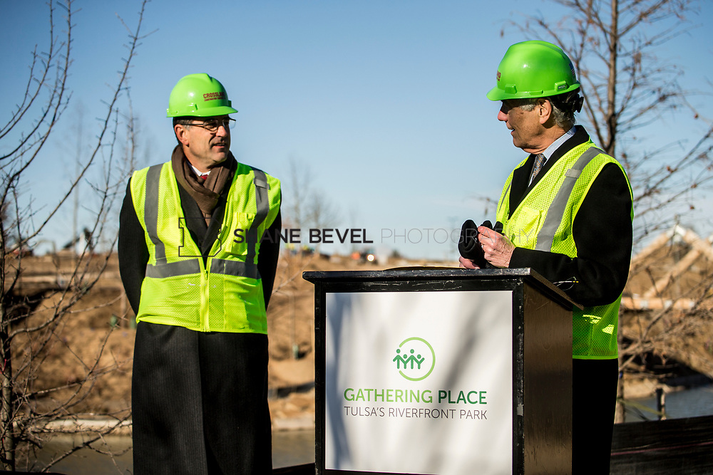 1/12/18 11:06:18 AM -- Halliburton CEO Jeff Miller and George Kaiser visit the Gathering Place for a press conference announcing Halliburton's support for the park. <br /> <br /> Photo by Shane Bevel