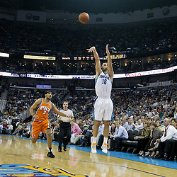 08 April 2009: New Orleans Hornets forward Peja Stojakovic (16) shoots a three pointer over Phoenix Suns forward Jared Dudley (3) during a 105-100 loss by the New Orleans Hornets to the Phoenix Suns at the New Orleans Arena in New Orleans, Louisiana.