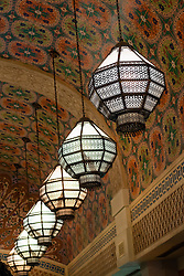 Ornate lamps in Ibn Battuta Mall in Dubai United Arab Emirates