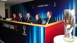 +++ FREE USE FOR STORIES PROMOTING THE UEFA SUPER CUP 2014 ONLY +++<br /> <br /> CARDIFF, WALES - Monday, February 17, 2014: Cardiff City manager manager Ole Gunnar Solskj&aelig;r, John Griffiths Minister for Culture and Sport, FAW Chief-Executive Jonathan Ford, Cardiff City Council Leader Heather Joyce and former Wales captain Kevin Ratcliffe at the launch the UEFA Super Cup 2014 which will be played at the Cardiff City Stadium on 12th August. (Pic by David Rawcliffe/Propaganda)
